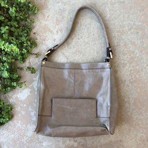 HOBO Intl VALOR Large Gray Leather Shoulder Bag